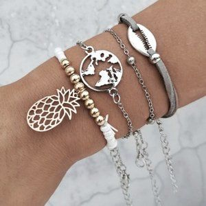BOHO Pineapple Earth Conch Shell 4 Bracelet Set